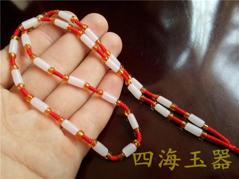 四海玉器批发 - 手工编织白色珠子项链